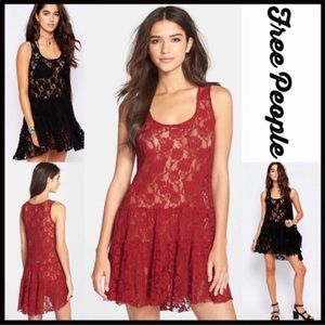 FREE PEOPLE EMILY LACE SLIP DRESS IN RED LARGE NWT